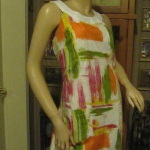 AGB White Orange & Green Dress size 12